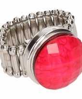 Zilveren ring roze steen drukknoop