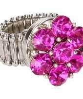 Zilveren ring roze steentjes drukknoop