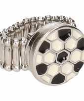 Zilveren ring voetbal drukknoop