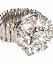 Zilveren ring zilveren steentjes drukknoop