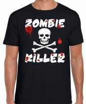 Zombie killer halloween t-shirt zwart heren