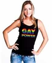 Zwart gay power tanktop dames