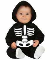 Zwart wit skelet verkleedcarnavalskleding baby peuter